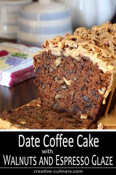 Date Coffee Cake with Walnuts and Espresso Glaze PIN Dattel-Kaffee-Kuchen mit Walnüssen und Espresso-Glasur-PIN Baking Recipes, Cake Recipes, Dessert Recipes, Dessert Bread, Homemade Desserts, My Recipes, Delicious Desserts, Recipies, Date And Walnut Loaf