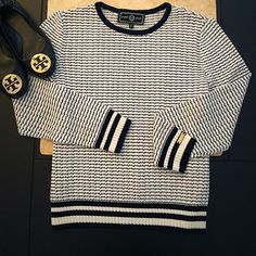St. John Sport Nautical Pullover Perfect to use in the summer, the knitting on the pullover is very light, perfect to use with your favorite jeans or shorts! Striped in blue, NWOT never been used, in perfect condition. All reasonable offers are welcome! Please make all offers through the offer button St. John Sweaters Crew & Scoop Necks