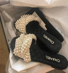 Supera Cute Pearl Studded Slide Sandals - Chanel C Dr Shoes, Cute Shoes, Me Too Shoes, Chanel Outfit, Chanel Shoes, Chanel Sandals, Chanel Chanel, Slipper Sandals, Shoes Sandals