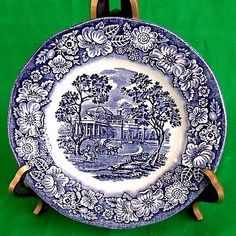 "6"" Liberty Blue ROLL & BUTTER PLATES Monticello Staffordshire England Blue White"