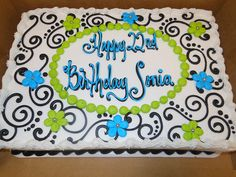 Scrollwork Cake by The Cake Company of Canyon via Flickr. Flower birthday ... & 652 best Sheet cakes images on Pinterest | Decorating cakes ...