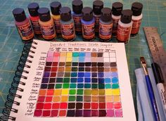 Artist Angela Anderson shows how to create a color mixing chart using DecoArt Traditions Artist Acrylic Palette Sampler Set.