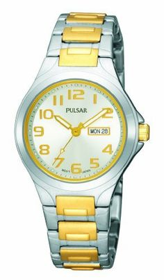 Pulsar Women's PXU037 Functional Two-Tone Silver Dial Day Date Watch Pulsar. $63.00. Hardlex crystal. Push button release clasp. Day and date calendar. Luminous hands and markers. Water-resistant to 99 feet (30 M)