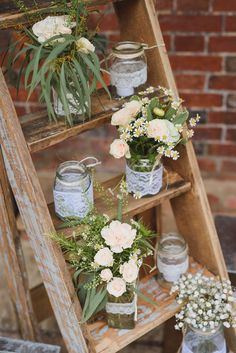 Pastel garden flowers | Natural details took centre stage at the wedding of childhood sweethearts Rob and Kylie Waite, who took their vows at rustic venue, Sopley Water Mill in Hampshire. Exposed brick, fudge favours, firepits and giant hearts were creative accompaniments to the couple's dream day | www.weddingsite.co.uk