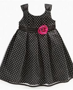 $29.99   Penelope Mack Kids Dress, Little Girls Dot Dress with Mesh Overlay - Kids Dresses - Macy's