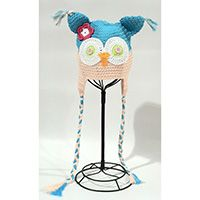 BLUE AND PINK CROCHET KNIT HOOT BABY HAT