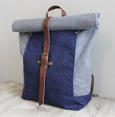 Roll Top Waxed Canvas Backpack Rucksack Charcoal and Navy by piprobins, $220.00