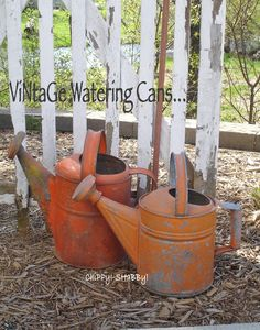 ViNtaGe Watering Cans... ChiPPy Old ORANGE PAINT...