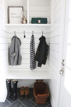 Top Mudroom Inspiration Ideas and Lowes - Nesting With Grace | 1000 Coat And Shoe Storage, Shoe Storage Small, Laundry Room Storage, Laundry Rooms, Small Laundry, Porch Storage, Small Shelves, Glass Shelves, Small Hallways