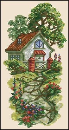 This Pin was discovered by эля 123 Cross Stitch, Cross Stitch House, Cross Stitch Heart, Cross Stitch Borders, Cross Stitch Flowers, Cross Stitch Designs, Cross Stitching, Cross Stitch Embroidery, Cross Stitch Patterns