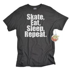 Skate Shirt Skate Eat Sleep Repeat skateboarding t shirt for boys... ❤ liked on Polyvore featuring t-shirts