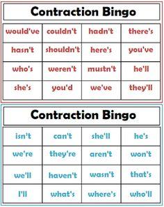 Contraction Bingo Game- Freebie!