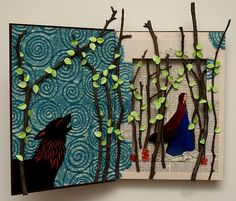 altered book. Red Riding Hood. I love this. could do it with one of the photos of the kids walking through the woods....
