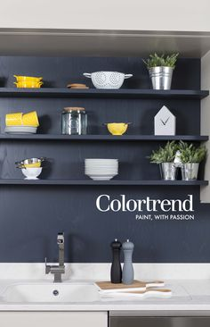 Conbu Interior Design at the Ideal Homes Show Spring 2015 Extension Kitchen.  Woodwork: Thunderstorm 0514 in Colortrend Ceramic Matt paint. www.colortrend.ie