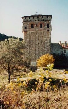 The tower of Chilandar Monastery, Mount Athos