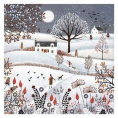 Illustration Noel, Winter Illustration, Christmas Illustration, Christmas Scenes, Christmas Art, Art Populaire, Naive Art, Winter Art, Whimsical Art