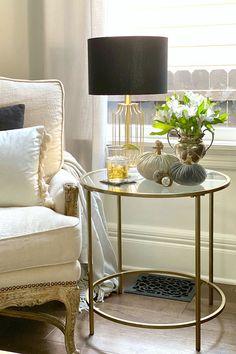 Nola Side Table via My Soulful Home #LivingRoom #Modern #HomeDecor #GoldAccents