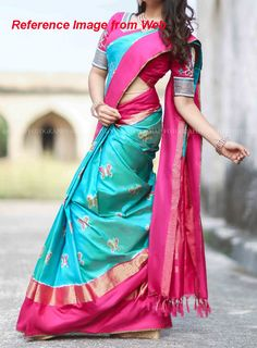 Blue color pochampally ikkath silk saree with pink and Zari Border