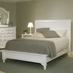 Cottage Queen Sleigh Bed w/ Low Footboard  by Vaughan factory direct Bassett