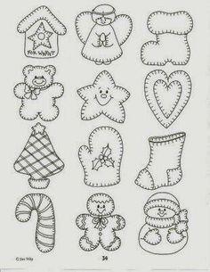 Risultati immagini per moldes patchwork navidad Felt Ornaments Patterns, Felt Patterns, Applique Patterns, Beaded Ornaments, Snowman Ornaments, Felt Christmas Decorations, Felt Christmas Ornaments, Christmas Fun, Felt Christmas Stockings
