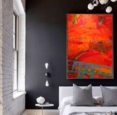 Brilliant red orange abstract on dark color wall