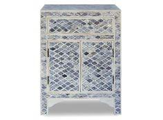 Bone Inlay Furniture - Grey Marrakech Bone Inlay Bedside Table