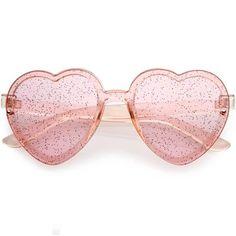0a0d8c3f74 Sunglasses Heart Shaped Womens Red Translucent Rimless Glitter Lens ...