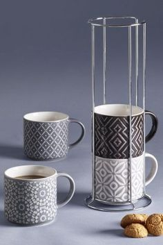 Buy Set Of 4 Geo Stacking Mugs from the Next UK online shop