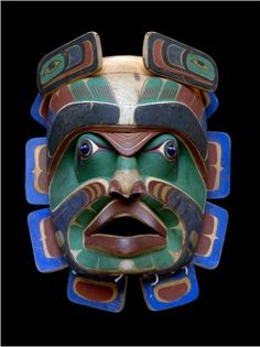"Vancouver Island Tribe, circa 1900, potlatch dance mask, at the National Museum of the American Indian exhibition ""An Infiinity of Nations"""