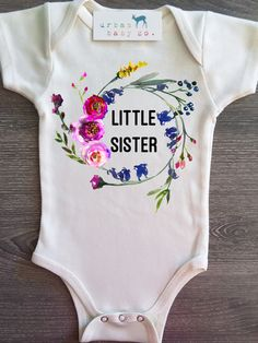 59bbeb03d Little Sister Floral Wreath Organic Baby Onesie®. Oh DeerBaby Girl ...
