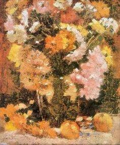 Crizanteme - Stefan Luchian Flower Paintings, Painting Inspiration, Painters, Flower Art, Art Gallery, Landscape, Country, Wall, Beautiful