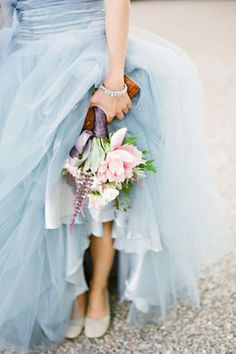 pastel wedding gown and pastel bouquet