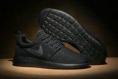 75aa793df7d37 New Arrival Nike Roshe One BR Breeze Triple Black Noir 718552 001 Mens  Womens Running Shoes