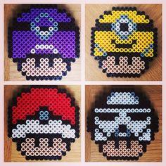 Mushrooms hama beads (Purple Minion, Pokeball, Yellow Minion and Stormtrooper) by beadgeekcreations