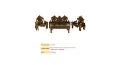 """Singha"" Hand Carved Lion Sofa, 2 Arm Chairs, Coffee Table, W/Cushions"