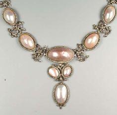 A mid 18th century coques de perle and marquiste pendant necklace, circa 1740