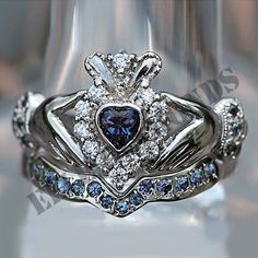 White Gold Over Heart Shape Sapphire amp Diamond Bridal Set Claddagh Ring Gothic Engagement Ring, Engagement Ring Settings, Claddagh Engagement Ring, Solitaire Engagement, Bridal Ring Sets, Bridal Rings, Bridesmaid Jewelry, Wedding Jewelry, Bling Bling