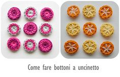 how to make decorative buttons crochet tutorial Knit World, Crochet Buttons, Crochet Crafts, Lana, Diy And Crafts, Knitting, How To Make, Pattern, Inspiration