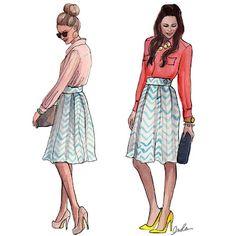 Full skirt, button down collared shirt, heels.