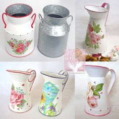 Decoupage Jars, Decoupage Wood, Decoupage Vintage, Tin Can Crafts, Diy And Crafts, Arts And Crafts, Shabby Chic Home Accessories, Milk Cans, Recycled Crafts