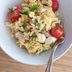 Tomato Chicken Mozzarella Avocado Quinoa Pasta with Basil. Simply the best!