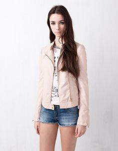 pull and bear:FAKE LEATHER BIKER JACKET
