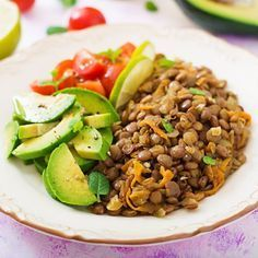 Lentil Salad (from The Low Fat Herbivore) Low Fat Vegan Recipes, Healthy Food Alternatives, Healthy Vegetable Recipes, Healthy Menu, Vegetable Dishes, Healthy Snacks, Healthy Eating, Avocado Salat, Lentil Salad