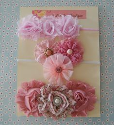 Newborn Headband Gift Set..Baby Girl Headband..Shabby Chic Rosette Headband $14.95, via Etsy.