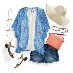A kimono's the perfect layer since it won't weigh you down. While the sun's still out to play, take your shorts and tan-fit to the next level with a bright and breezy kimono as a layering piece. The addition of a paisley or floral-printed kimono brings a boho touch to your ensemble.