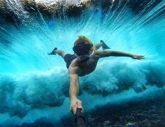 """Post…and you could win! Take your Selfie to the next level—just add water and show us your best from July Ten lucky participants will score """"the world's most versatile camera"""": the GoPro with waterproof case. Gopro Photography, Underwater Photography, Street Photography, Underwater Photos, Underwater World, Gopro Underwater, Parkour, Gopro Fotografie, Go Pro"""