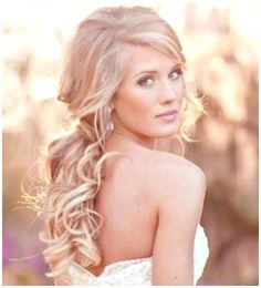 hair pulled to the side with curls - Google Search @sbs7754 or something like this