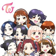 Asia's number one girl group TWICE is here with their second Japanese single, Candy Pop! Give your chats their own special pop with cute, cartoon versions of the group inspired by the song's music video. Pop Stickers, Anime Stickers, Kpop Drawings, Cartoon Drawings, Nayeon, Anime Chibi, Kawaii Anime, Twice Fanart, Yoonmin Fanart