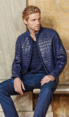 #Bluewash Men's All Blue Outfit with a Blue Aligator Leather Jacket