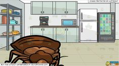 #clipart #cartoon A Creepy Bed Bug and An Office Lunch Room Background -  Vendor: vectortoon Type: Clipart Price: 20.00  Source Clipart  A Creepy Bed Bug  A brown bed bug with a fat big abdomen pointed head and six legs.  An Office Lunch Room Background  A room that serves as a small pantry of an office with a white refrigerator gray shelf with containers light teal kitchen counter and cabinet coffee maker microwave oven and a snack dispenser gray walls and beige tiled surface.